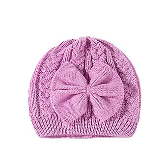 Winter Warm Knitted Baby Hat For Girls Cotton Lined  Girls Hat Cute Bow Beanie