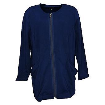 Susan Graver Week-end Femme Brossé Dos Tricot Zip Jacket Bleu A261959