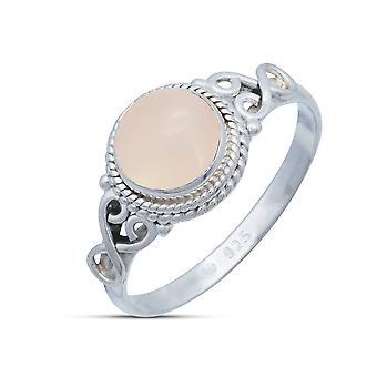Ring Zilver 925 Sterling Zilver Zilver Kwarts Roze Steen (Nr: MRI 24)