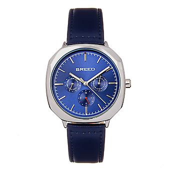 Breed Revolver Leather-Band Watch w / Día / Fecha - Navy