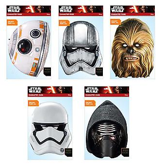 Star Wars Force Awakens Official 2D Card Party Fancy Dress Masks Variety 5 Pack