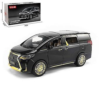 Toy cars 1/24 luxury lexus lm300 mpv model simulation sound light pull collection toys vehicle black gold