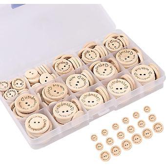 כפתורי עץ, 150 יחידות, כפתורי עץ בעבודת יד