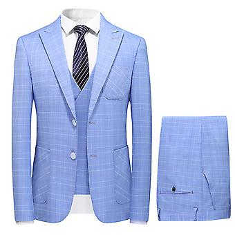 Mile Mens Single Breasted 3 Piece Suit Light Weight Summer Tailored Fit Jacket Waistcoat Trousers Blue
