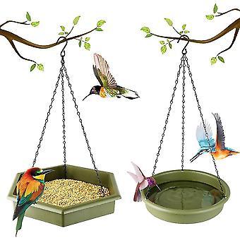 Agățat Bird Feeder Bird Bath 2 În 1 Platforma Bird Feeder Baie Bird Baths Pentru Outdoors