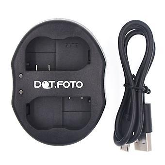 Dot.Foto Nikon EN-EL15 dubbel USB-laddare för Nikon V1, D600, D610, D750, D800, D800E, D810, D7000, D7100, D7200