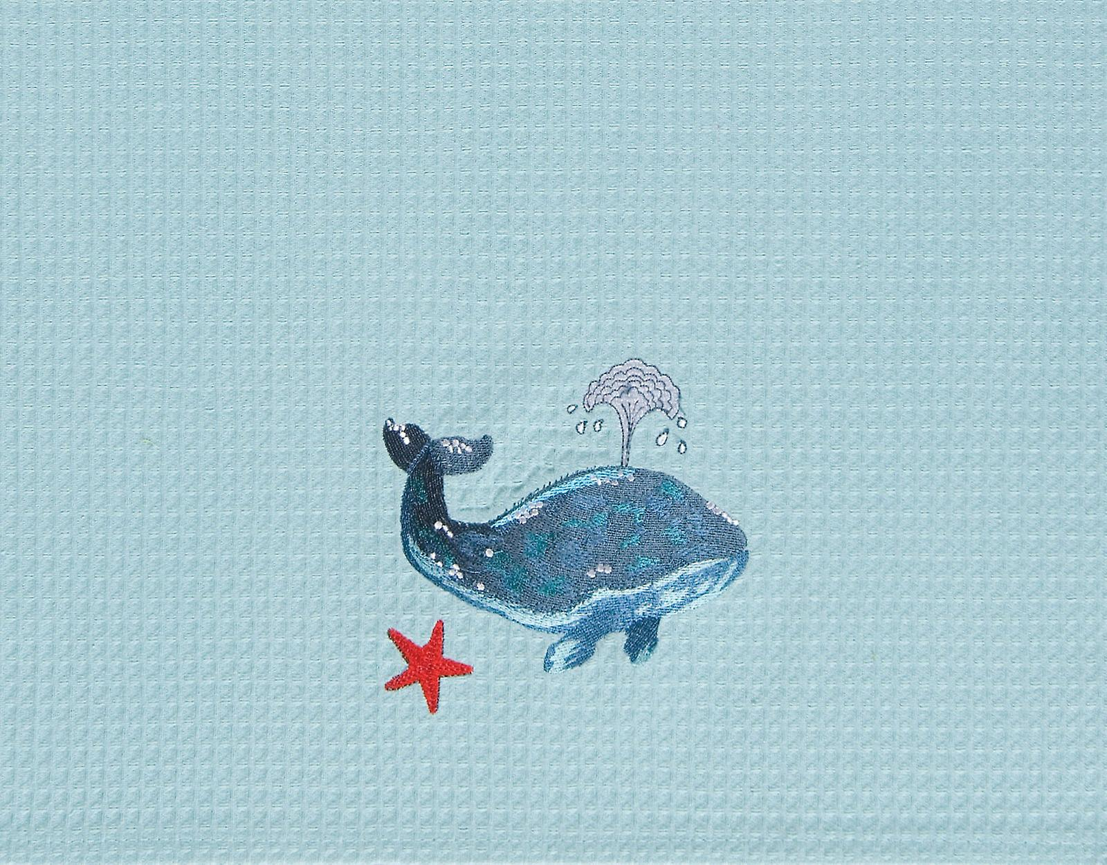 Coastal Blue Embroidered Whale and Starfish Teal Waffle Weave Kitchen Dish Towel