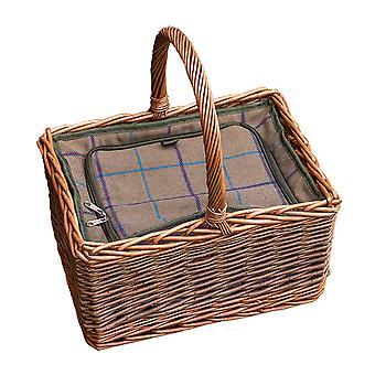 Deluxe mäsiarov Prútený piknikový kôš s namontovaná chladič