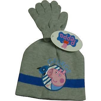 Conjunto de meninos Peppa Pig George Beanie chapéu e luva