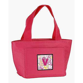 Letter V Flowers and Butterflies Pink Lunch Bag