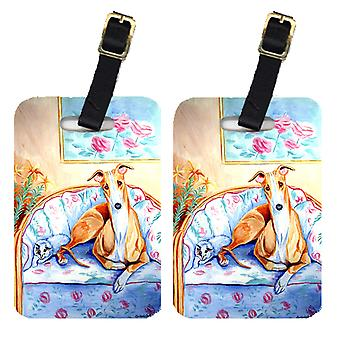 Carolines Treasures  7081BT Pair of 2 Whippet waiting on Mom Luggage Tags