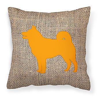 Shiba Inu Burlap and Orange   Canvas Fabric Decorative Pillow BB1067