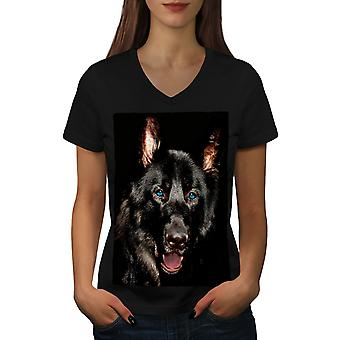 Animal Wild Dog Women BlackV-Neck T-shirt | Wellcoda