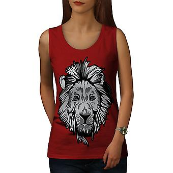 Lion Beast Calm Animal Women RedTank Top | Wellcoda