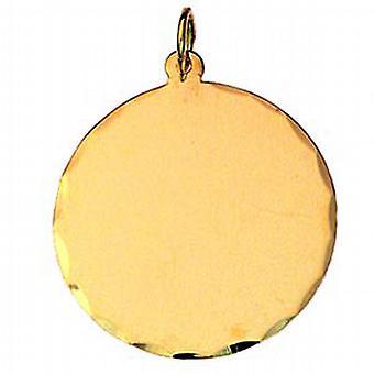 9ct الذهب 26mm الماس قطع حافة القرص الجولة