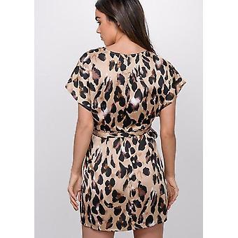 Leopard Print Split sida Mini klänning Multi