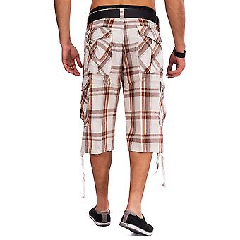 Mens Cargo Shorts WALNUTS plaid Bermuda shorts cargo pants plaid cotton
