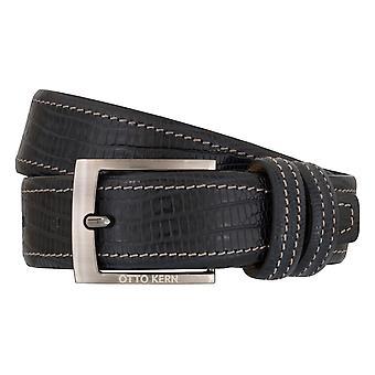 OTTO KERN belts men's belts leather belt reptile optic Navy/Blue 7013