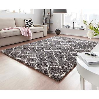 Design cut pile carpet deep pile Luna grey cream