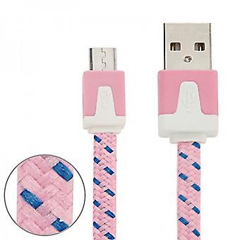 2 м USB данных и зарядный кабель розовый для всех смартфонов и планшетных микро USB