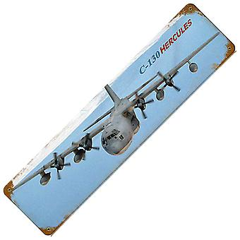 C-130 Hercules Rusted Metal Sign 200Mm X 50Mm