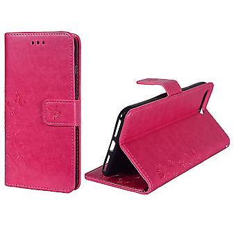 Skyddslocket blommor för telefonen Apple iPhone 8 plus rosa