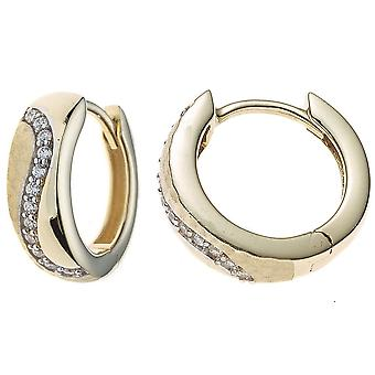 Hoops part rhodium plated 333 gold yellow gold partly Matted with cubic zirconia earrings gold earrings