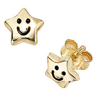 Ear plug star SAMMY 333 of yellow gold enamel insert children