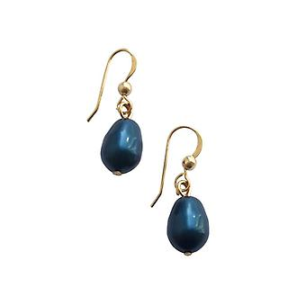 Shell core perlen ørering MK perle blå dråbe øreringe forgyldt