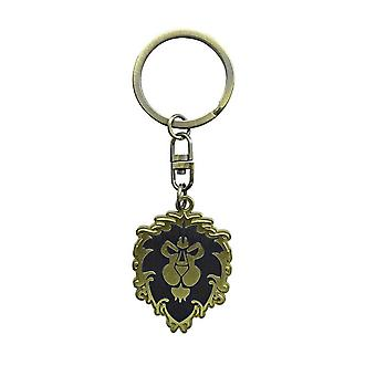 World of Warcraft key chain Alliance blue/gold, 100% metal, on blister card.