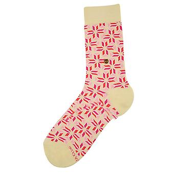 The Moja Club Patterned Midcalf Socks - Pink/White
