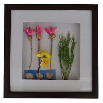30x30 cm, blommor med ram och glas