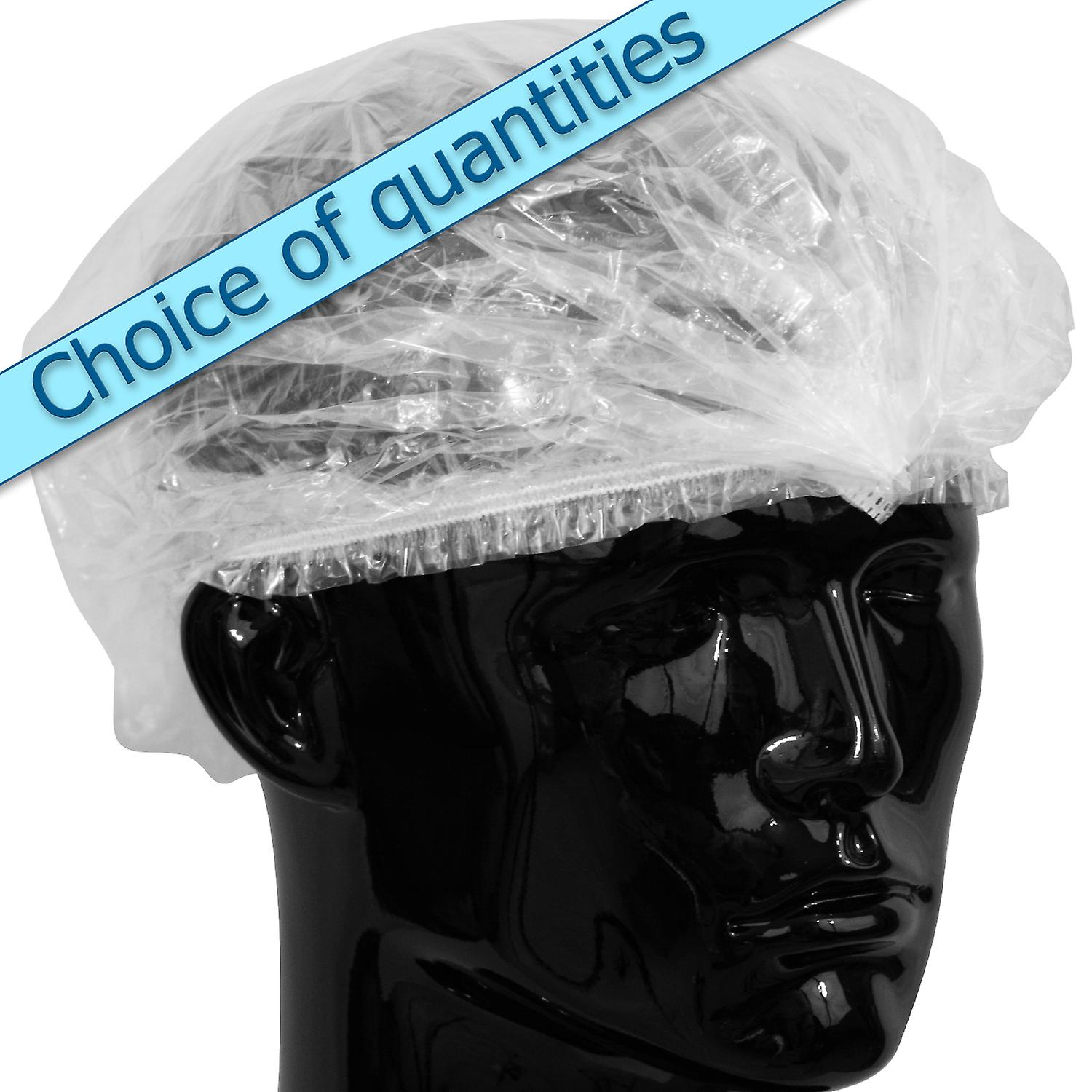 100 x Simply Direct Disposable Waterproof Shower Caps. Transparent Elasticated Generous Fitting Bath caps. Individually Bagged.