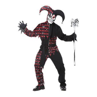 Mens Sinister Jester Halloween Clowns & Circus Horror Film Fancy Dress Costume