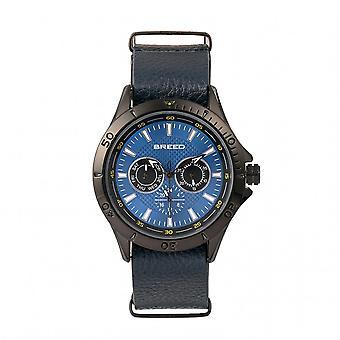 Banda de cuero de Dixon se reproducen reloj w/día/fecha - azul
