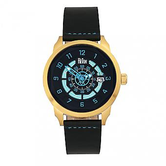 Reign Lafleur Automatic Leather-Band Watch w/Date - Gold/Teal