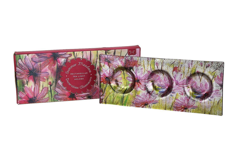 Summer Meadow Decorative Glassware Triple Tea Light Holder