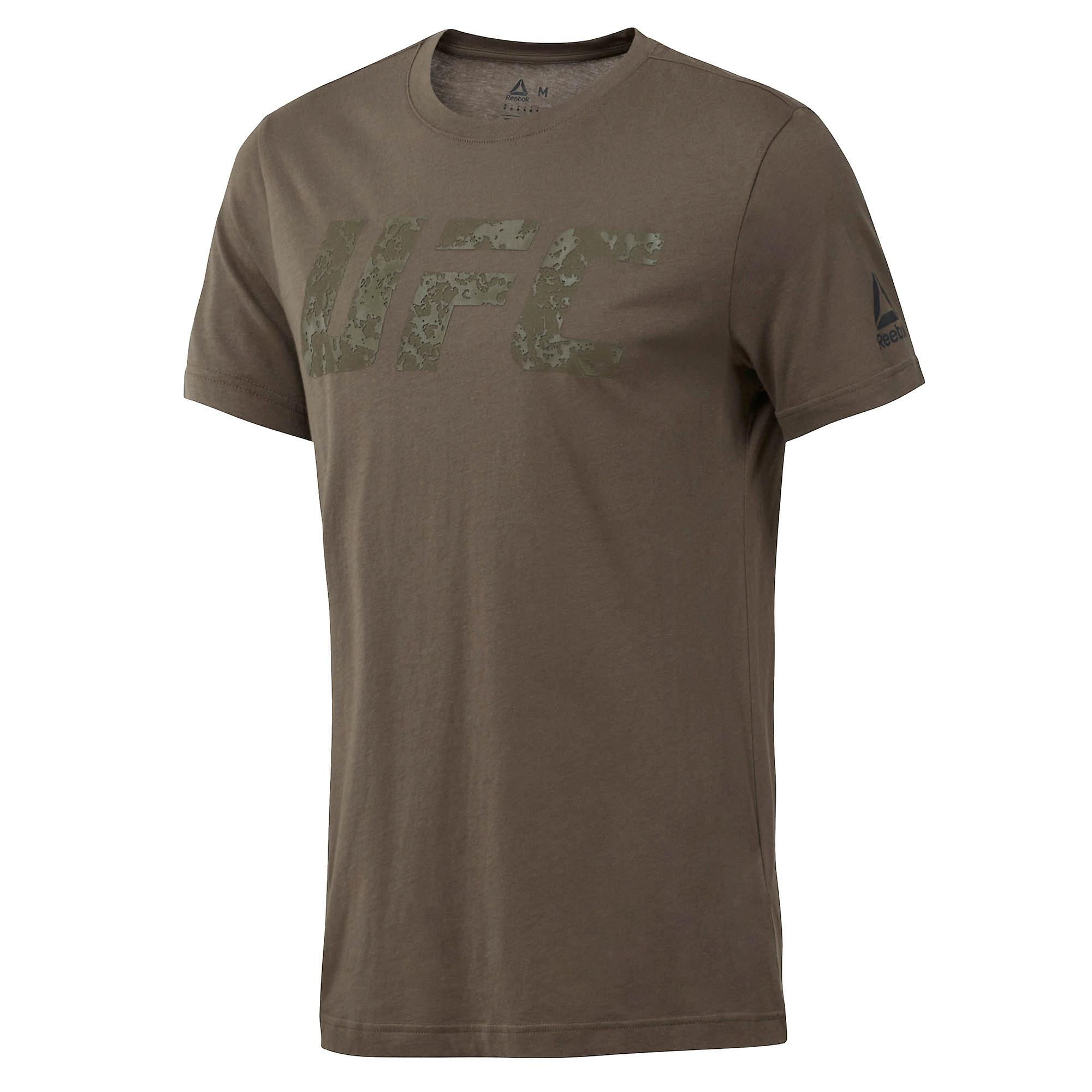 Reebok UFC MMA Logo Mens Training Fitness Fight T-Shirt Tee Khaki