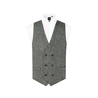 Schottische Harris Tweed Herren schwarz/grau Fischgrät Tweed Weste regelmäßige Pass 100 % Wolle Doppel breasted