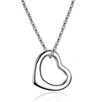 925 Sterling Silver Open Heart Solid Pendant Necklace Chain