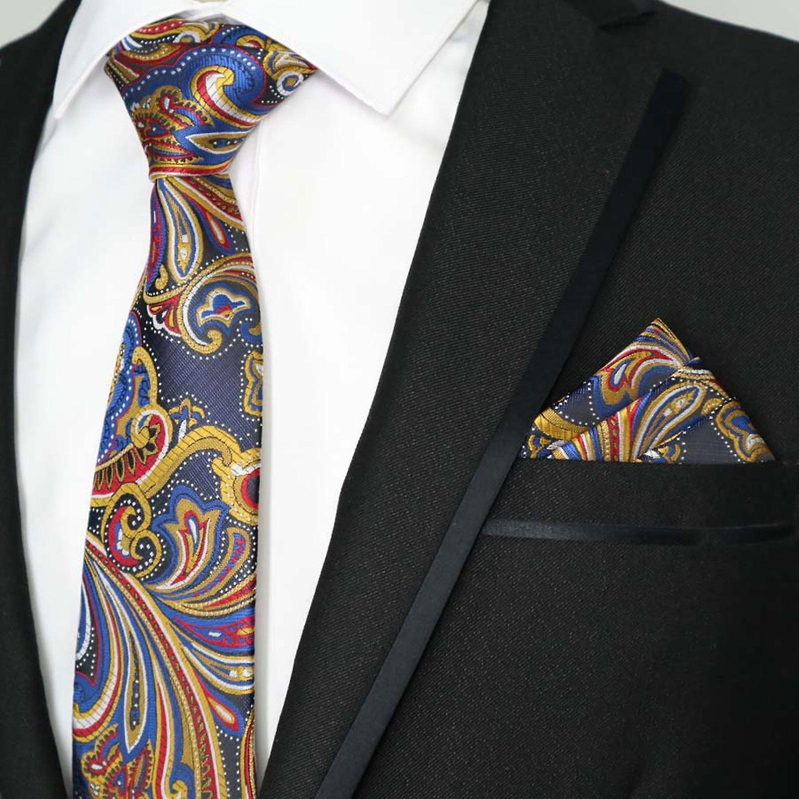Yellow blue & red east asia floral pocket square & tie