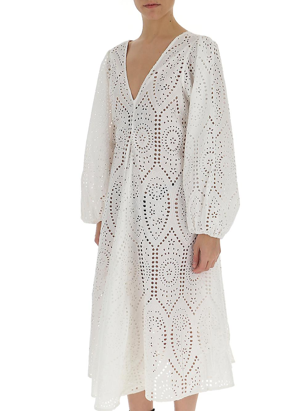 Ganni F3057151 Robe en coton blanc pour femmes et femmes;s 36qN7m