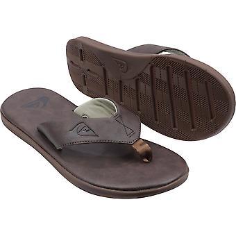 Quiksilver mens Haleiwa plus nubuck casual flip flops-mörkbrun