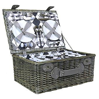 Charles Bentley Grey Wicker Picnic Basket Hamper Set For 4 Person Checkered Lining