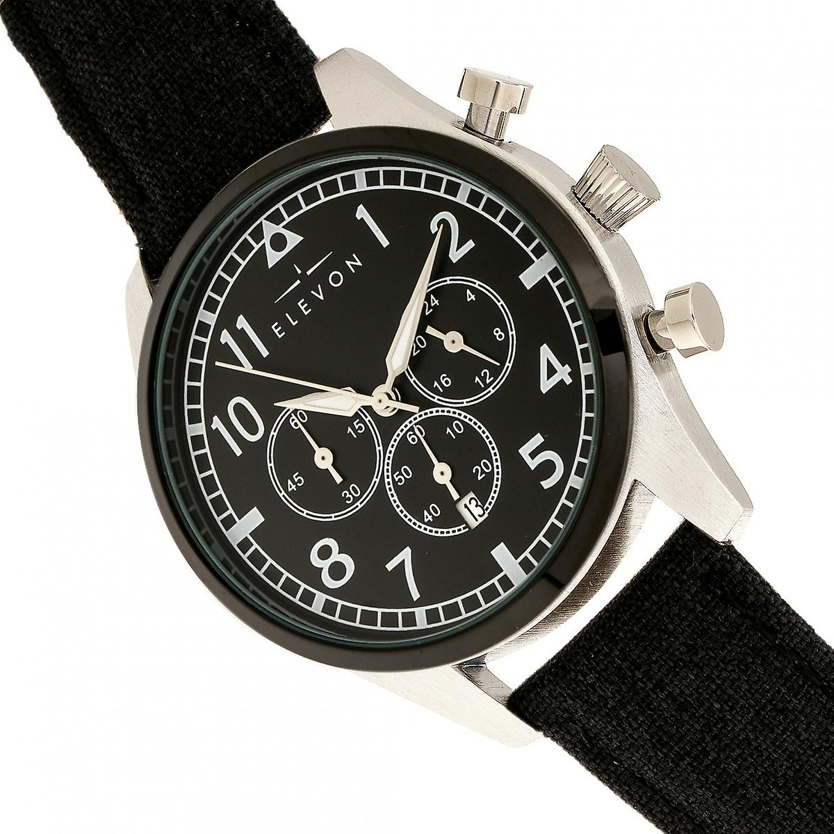 Elevon Curtiss Chronograph Nylon-Overlaid Leather-Band Watch - Silver/Black