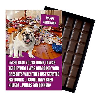 犬の恋人ボックスチョコレートグリーティングカードプレゼントのための英語ブルドッグ面白い誕生日プレゼント