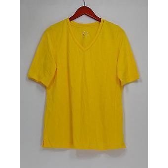 C. wonder top Essentials SLUB Knit V-hals elleboog mouw Tee geel A289694