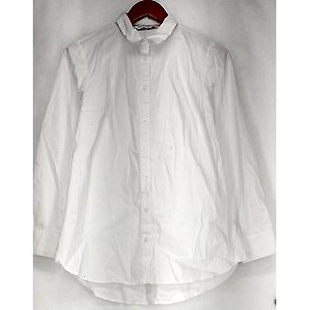 Isaac Mizrahi Live! Top Long Sleeved Button Down Front White A281348