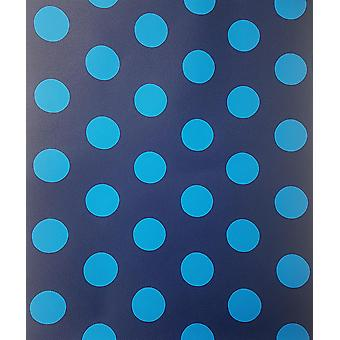 Blue Spots Polka Dots Wallpaper Circles Children's Kids Boys Girls Room P+S