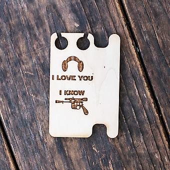 Ear bud holder - i love you i know - raw wood - 2.5x3.7in